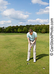Male Golfer Putting On Green