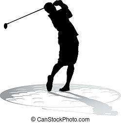 Silhoutte of a young male golfer teeing off over the shadow of a golf ball.