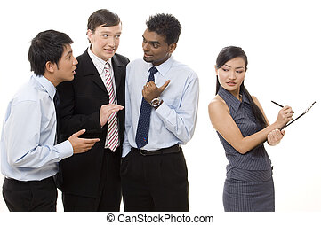 Three businessmen talk about a female colleague behind her back