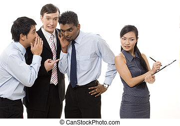 Three businessmen whisper about a female colleague behind her back