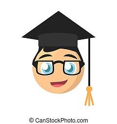 male graduate emoticon cartoon design