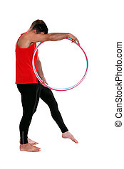 Male gymnast with hoops