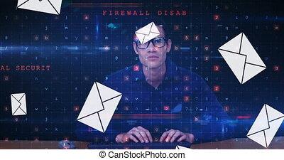 Male hacker typing 4k