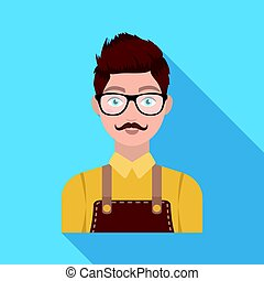 Male hairdresser. Barbershop single icon in flat style vector symbol stock illustration web.