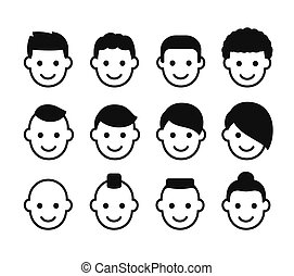 Male hairstyles icon set