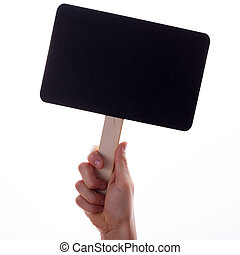 Male hand are holding black empty chalkboard.
