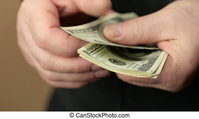 Male Hand Counting Money