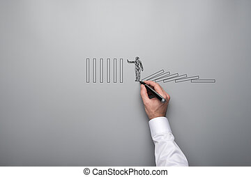 Male hand drawing shape of a businessman stopping domino effect