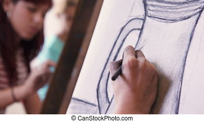 Male Hand Drawing Young Man Sketching Artist Training At School