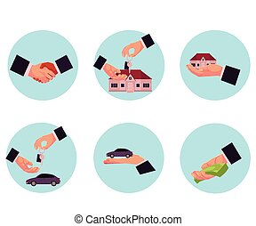 Male hand giving money, car, house, key, handshake