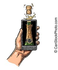 Male hand hold smartphone with bottle of champagne explosion