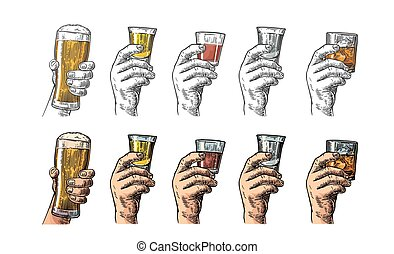 Male hand holding a glasses with beer, tequila, vodka, rum, whiskey. Vintage color vector engraving illustration for label, poster, invitation to party and birthday.