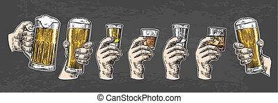 Male hand holding a glasses with beer, tequila, vodka, rum,...