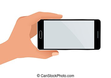 Male hand holding a phone with blank screen. Flat Isolated...