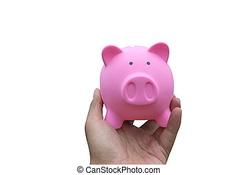 Male hand holding a pink piggy bank isolated on white