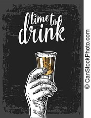 Male hand holding a shot of alcohol drink. Vintage vector...