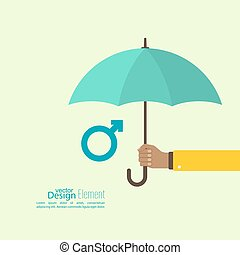 Male hand holding an umbrella.