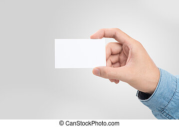 Male hand holding blank business card over white male hand holding blank business card isolated colourmoves