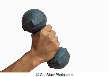 Male hand holding dumbbell isolated