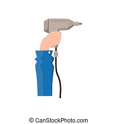 Male hand holding electric drill, flat style icon