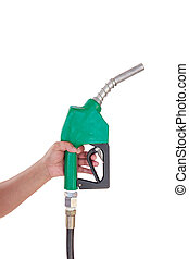 Male hand holding gas with pump isolated on white