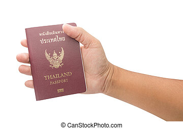 Male hand holding Thailand passport isolated on white background
