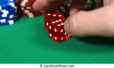 Hand Holding Two Dice - Male Hand Holding Two Dice On Green...
