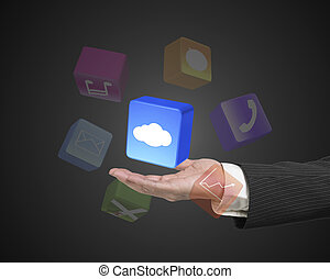 Male hand holding white cloud app block