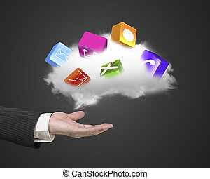 Male hand holding white cloud with colorful app blocks