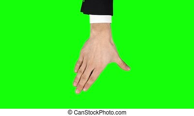 Male hand in black jacket and shirt is performing 5x spread ...
