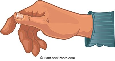 Male hand in blue shirt