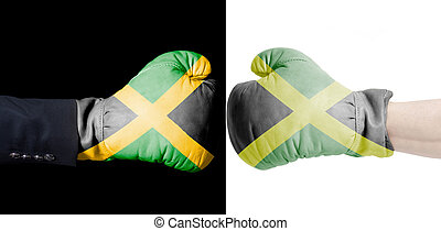 Male hand in Boxing gloves with Jamaica flag