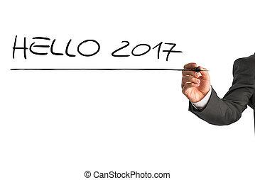 Hello 2017 sign on a white virtual screen