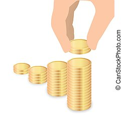 Male Hand Increase Stack Of Coins, Increase Savings