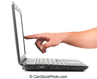 pointing on laptop