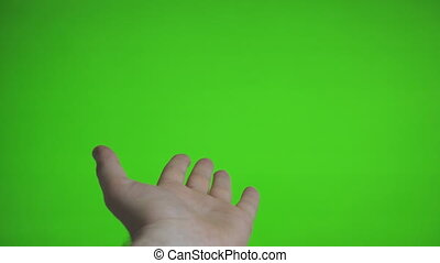 Male hand offers something. Chroma key. Place for your...