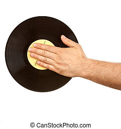 Male hand on vinyl record