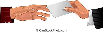 Male hand pass white business card to other male hand