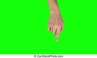 Male hand performing single tap and double tap tablet screen gesture on green screen. Single hand pre-keyed touch-screen gestures, easily removed. Man hand showing multitouch gestures. Close up