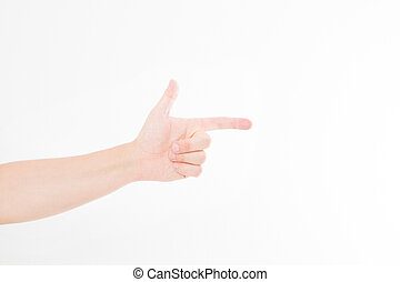 male hand pointing. Isolated on white background. caucasian hand. Mock up. Copy space. Template. Blank.
