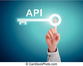 male hand pressing API key button over blue abstract...