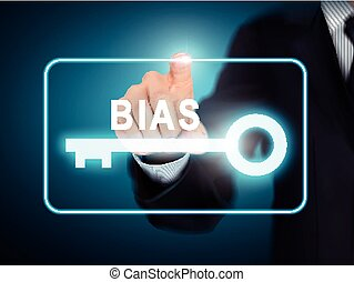 male hand pressing BIAS key button over blue abstract background