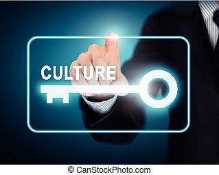 male hand pressing culture key button