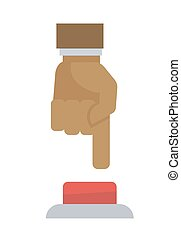 Male hand pushing the button isolated on white background.