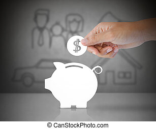 paper coin into a paper piggy bank
