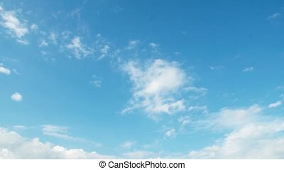 Male hand raise laptop up. Blue sky on background. Success, achievement gesture
