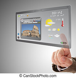 male hand searching a information on touchscreen tablet