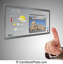 """male hand searching a information on touchscreen tablet"""""""