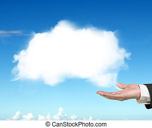 Male hand showing white cloud with blue sky