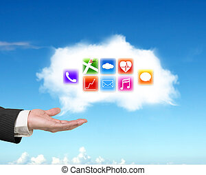Male hand showing white cloud with colorful app icons